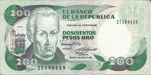 Colombia  200 Pesos Oro 1 De Abril 1988