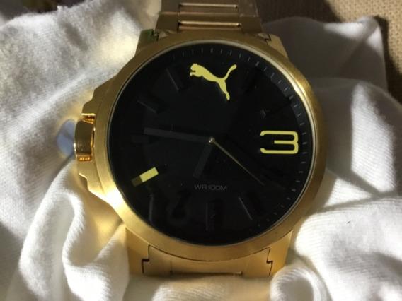 Relógio Puma, Grande, Preto, Dourado.