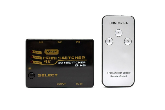 Kit Com 05 Hub Switch Hdmi 3 Portas Full Hd+ Controle Remoto