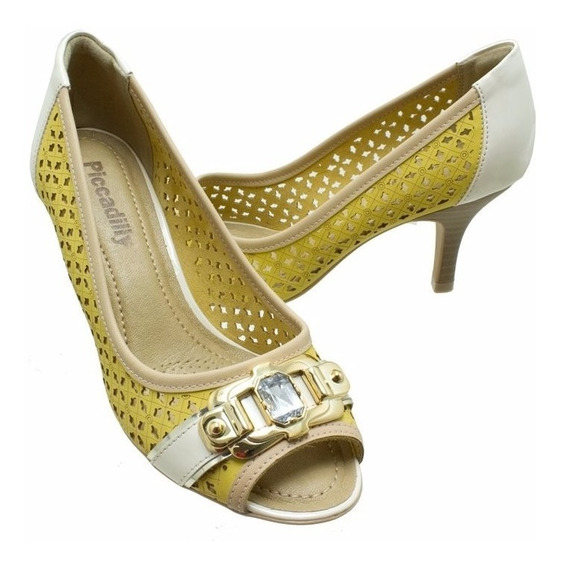 Sapato Feminino Scarpin Peep Toe Piccadily Amarelo 362024