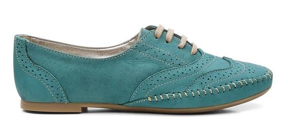 Oxford 100% Couro Com Cadarço Fashion Azul Turquesa