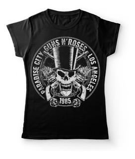 Camiseta Mujer Guns And Roses Estereo Picnic Rock Activity