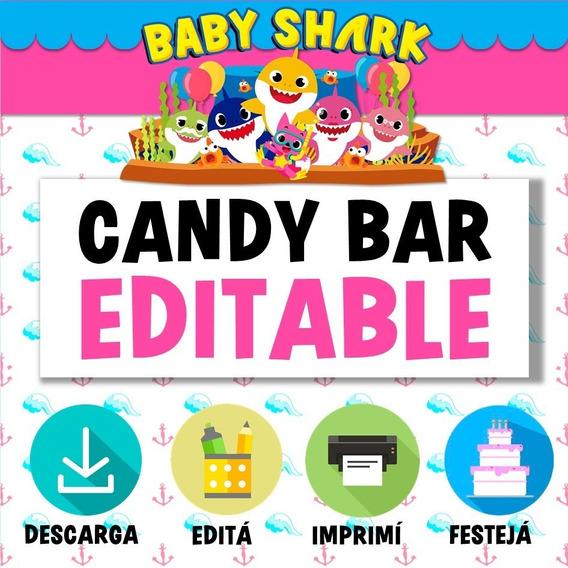 Kit Imprimible Baby Shark Candy Bar Editable Nena Rosa