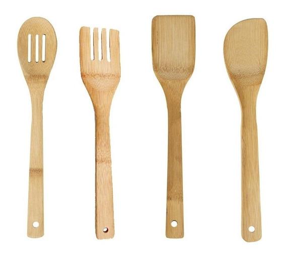 Set De 4 Utensilios De Madera De Bambù