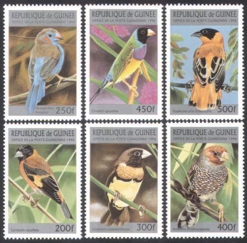 Estampillas Guinea Aves Pajaros 1996 Serie Completa Mint