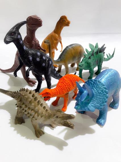 Kit 8 Peças Dinossauros De Borracha Monte Sua Coleção !