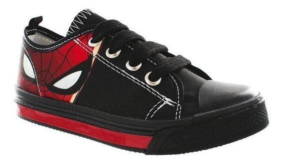 Calzado Kids Niño Tenis Casual Spiderman Textil Negro Comodo