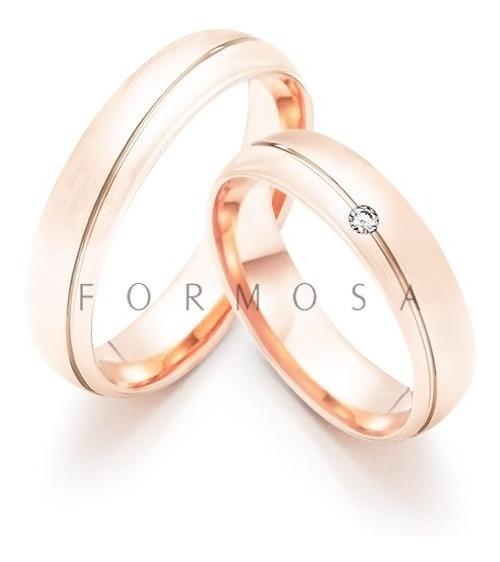 Alianças Prata 950 Banhadas Ouro Rosé Pedra E Friso Diagonal