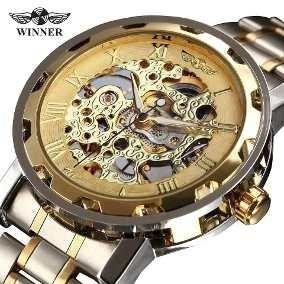 Relógio Skeleton Masculino Mecânico Winner 7p3o K3e7