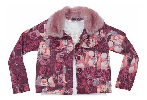 Jaqueta Estampada De Veludo Com Pele