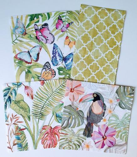 Servilletas Decoupage Set Mariposas Tropicales Laura Craft