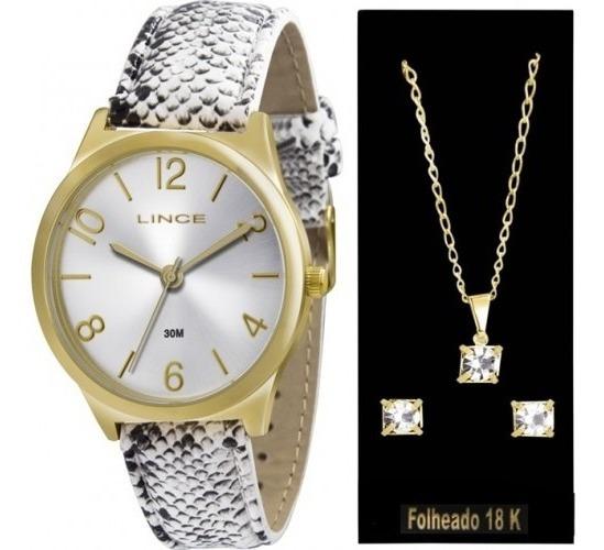 Kit Relógio Lince Colar E Brincos Lrc4301l K107 Frete Grátis
