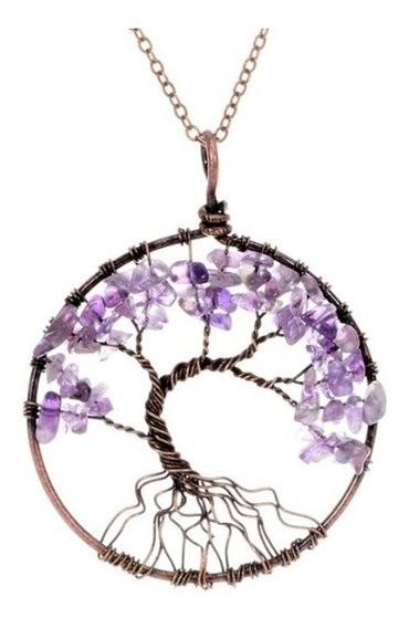 Colar Pedra Cristal Árvore Da Vida Ametista Top Promoção