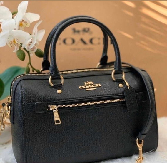 Bolsa Coach Rowan Black Leather Satchel Original Prta Entreg