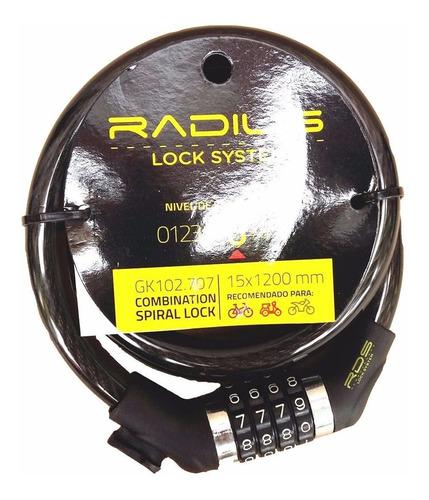 Imagen 1 de 2 de Linga Seguridad P/bici Radius 15mm Cerradura Combinación