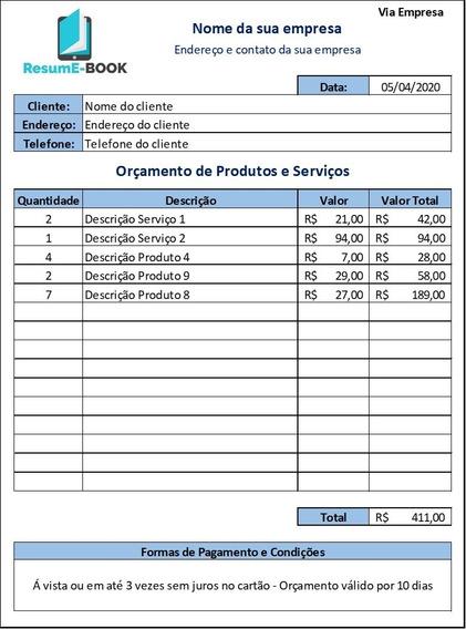 Planilha De Orçamento De Produtos E Serviços Em Excel Libre