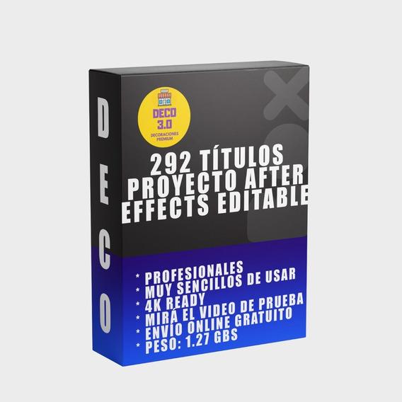292 Titulos Proyecto After Effects Editable Elegante Animado