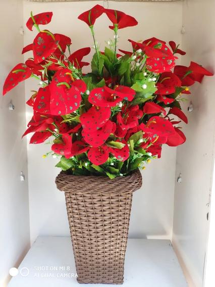 Planta Artificial Verniz Vermelha Coração + Vaso Artesanal