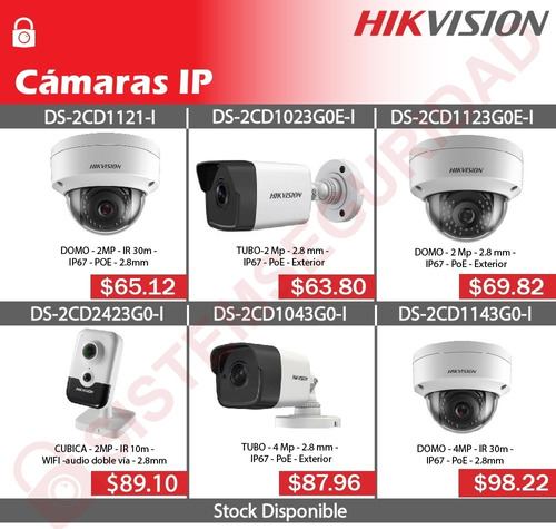 Camara Ip Domo Tubo 2mp 4mp Poe 30m Hikvision Ds-2cd1121-i