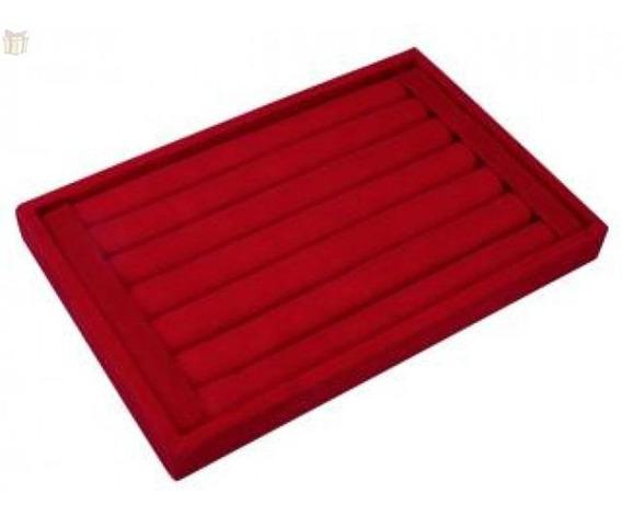 Bandeja Porta Anel Mdf Aveludado Vermelha Para Até 56 Anéis - Estilo Rolete - Medidas 28x18,5