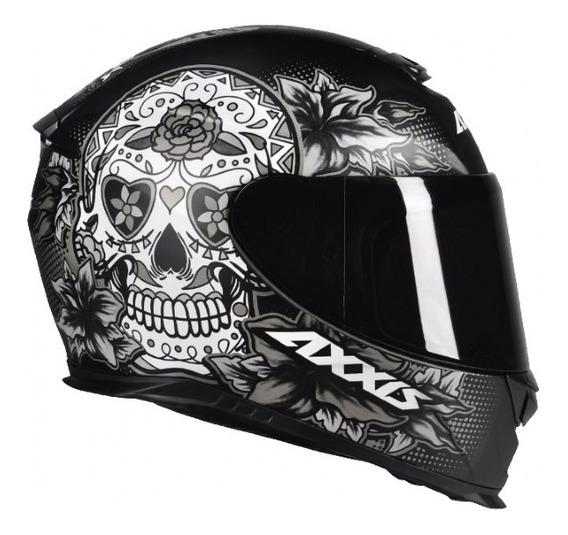Capacete Axxis Eagle Skull Matt Black-grey