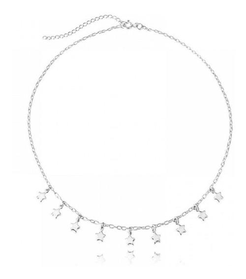Gargantilha Choker Mini Estrelas Prata 925 35 / 5 Cm