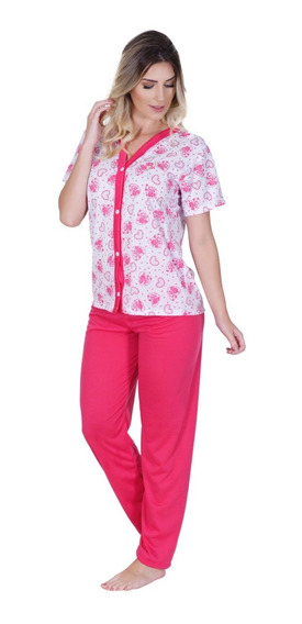 Pijama Calça E Blusa Manga Curta Amamentação Cirurgia Idoso
