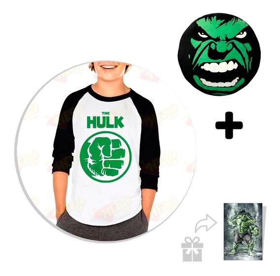 Kit Playera Raglan Niño Hulk + Peluche + Sticker Regalo
