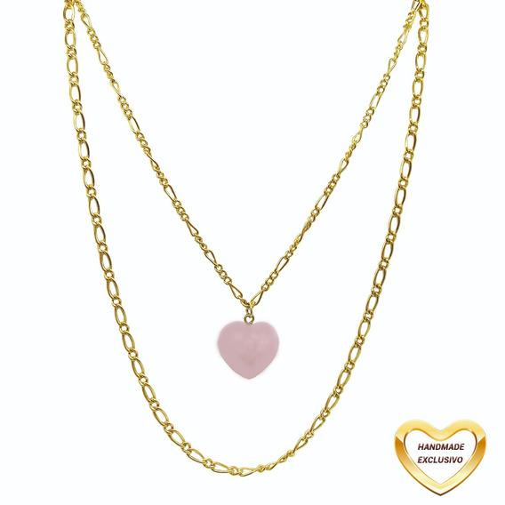Colar Bogoh Camadas Pingente Pedra Coração Rosa Dourado