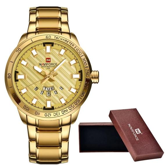 Relógio Naviforce Original Dourado À Prova D