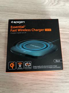 Carregador Wireless Spigen Essential F301w-preto Ultra Slim