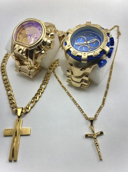 Relógio Luxo 2 Kits Colar Dourado+caixa Frente Grátis