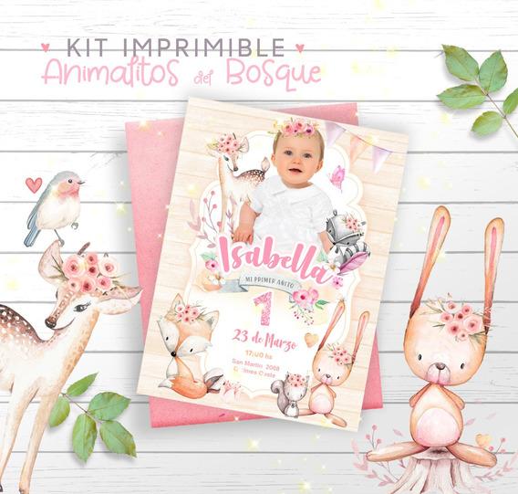 Kit Imprimible Woodland Animalitos Del Bosque Personalizado