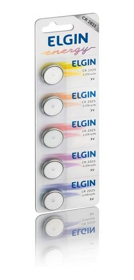 Bateria Moeda Cr2025 3v Pilha Lithium Elgin Com 5 Unidades