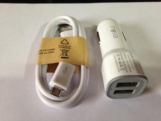 Carregador Veícular 2 Portas Usb + Cabo Micro Usb Branco