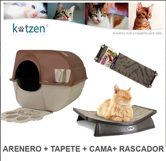 Arenero Grande + Tapete + Rascador + Cama Omega Paw