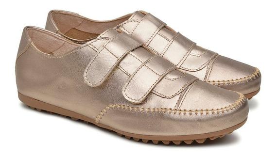Tênis Sapatênis Confort Velcro Couro Legítimo Soft Feminino