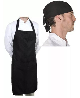 2x1 Combo Delantal + Bandana En Gabardina Chef Cocinero