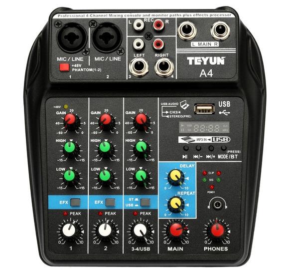 Mesa De Som 4 Canais Compacta Usb Efeito Bluetooth Interface De Áudio Com Phantor Power