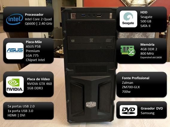Pc Pro Core2quad 2.40ghz, 4gb Ram, 500gb Hd, Nvidia Gtx460
