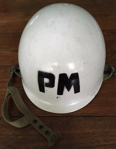 Antiguo Casco De Fibra Policia Militar C/interior-mentonera