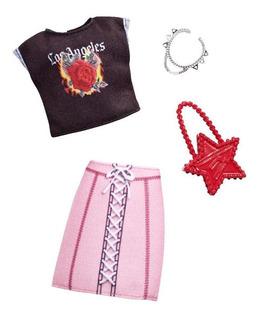 Barbie Conjunto Accesorios Y Modita - Falda Rosa Y Blusa Neg
