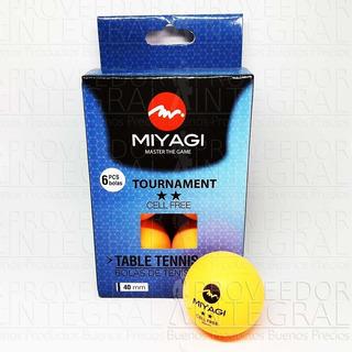Bolas Pelotas Ping Pong Caja X 6 Naranja Miyagi 2 Estrellas
