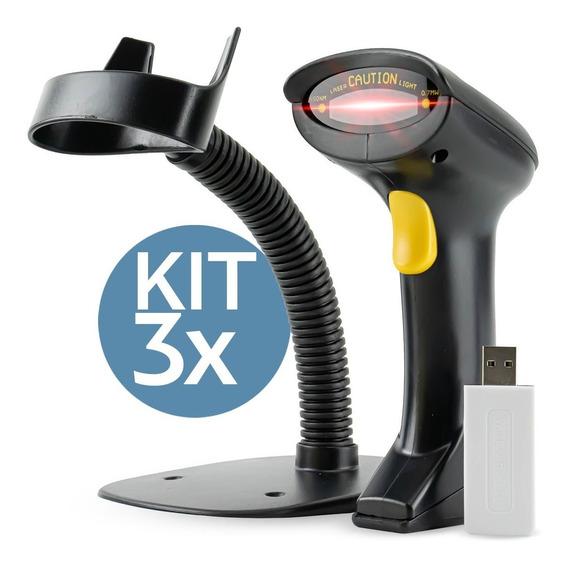 Kit 3x Leitor Codigo Barras Sem Fio P/ Loja Boleto Caixa Nfe