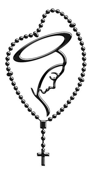Adesivo Emblema Terço De Nossa Senhora Resinado 3d