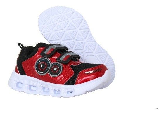 Tenis De Niño Con Luces, Rojo Negro B075 Led And Wheels