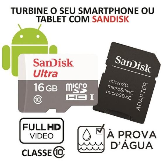 Cartão De Memória Micro Sd Sandisk Ultra 16gb C/adaptador