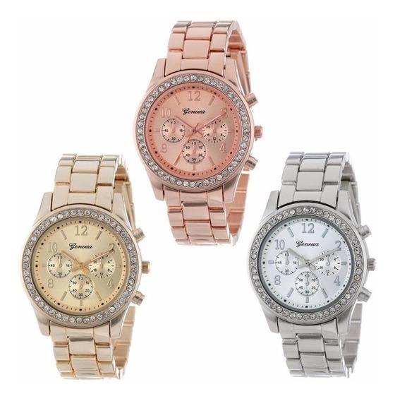 Relógio Feminino Geneva Dourado De Aço Strass Frete Grátis
