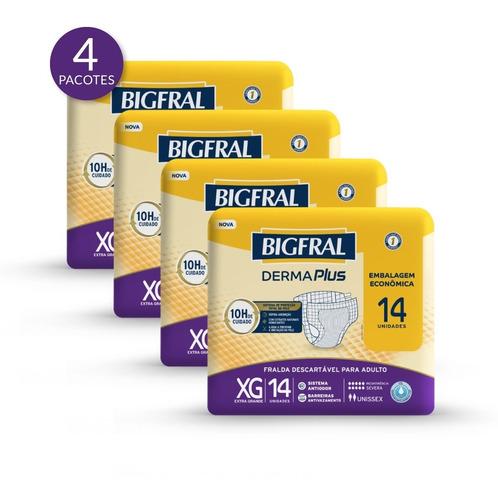Imagem 1 de 5 de Kit Fralda Bigfral Derma Plus Tamanho Xg - 56 Unidades