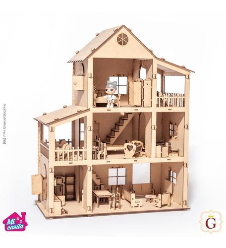 Casa Casita De Muñecas Lol En Fibro Fácil Con 36 Muebles